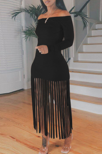 Black Sexy Casual Solid Tassel Off the Shoulder Long Sleeve Dresses