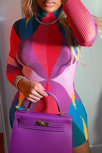 Purple Sexy Print Split Joint Half A Turtleneck Pencil Skirt Dresses