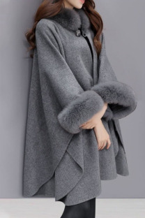 Grey Casual Elegant Solid Split Joint O Neck Outerwear