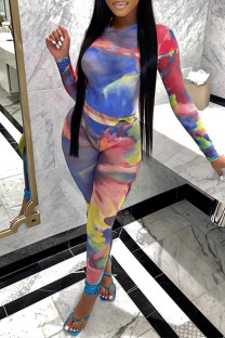 Blue Sexy Casual Print Tie Dye See-through O Neck Long Sleeve Two Pieces