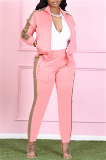 Pink Fashion Casual Solid Split Joint Turndown Collar Long Sleeve Two Pieces