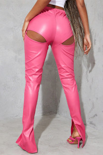 Rose Red Fashion Sexy Solid Hollowed Out Slit Regular High Waist Trousers