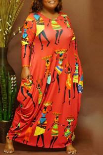Red Fashion Casual Print Basic O Neck Long Sleeve Plus Size Dresses