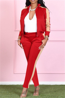 Red Fashion Casual Solid Split Joint Turndown Collar Long Sleeve Two Pieces