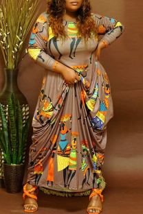 Brown Fashion Casual Print Basic O Neck Long Sleeve Plus Size Dresses