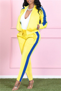 Yellow Fashion Casual Solid Split Joint Turndown Collar Long Sleeve Two Pieces