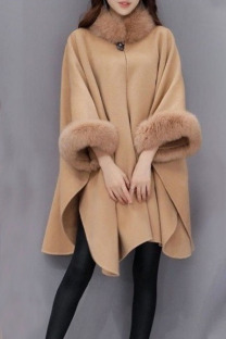 Camel Casual Elegant Solid Split Joint O Neck Outerwear