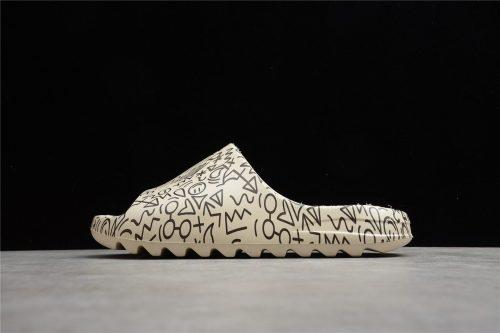 (Free Shipping) 2021 Kanye West x Adidas Yeezy Slide Graffiti Core Black FW6348