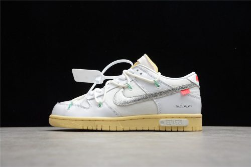ReactRun Off White Nike Dunk Low 01 Of 50 OW White Metallic Silver DM1602-127(SP batch)