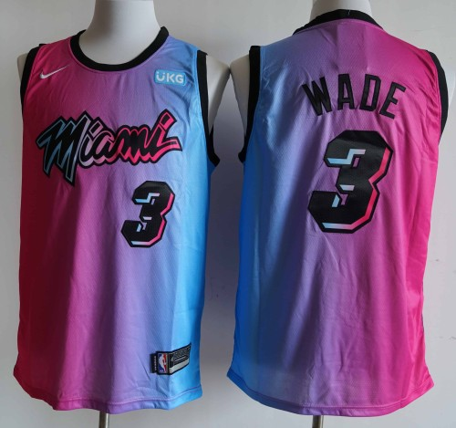 NBA NIKE Jersey Miam NO.3 Pink blue